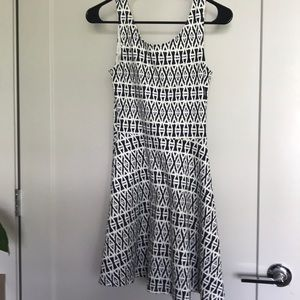 H&M Navy and White Aztec Skater Dress